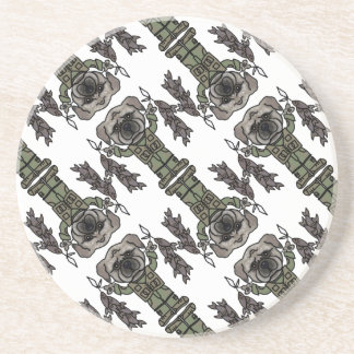 Cute Adventure Pug holding Fish Cartoon Pattern Coaster