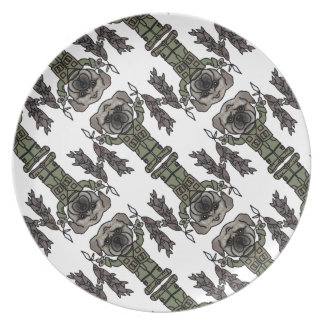 Cute Adventure Pug holding Fish Cartoon Pattern Dinner Plate