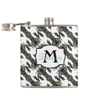 Cute Adventure Pug holding Fish Cartoon Pattern Flask