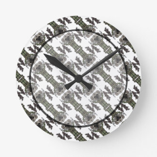 Cute Adventure Pug holding Fish Cartoon Pattern Round Clock