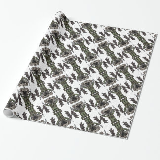 Cute Adventure Pug holding Fish Cartoon Pattern Wrapping Paper