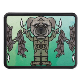 Cute Adventure Pug holding Fish Cartoon Tow Hitch Cover