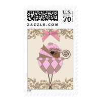 Cute African American Baby Girl Shower Postage Stamp