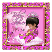 Cute African American Baby Shower Pink Gold Custom Announcements