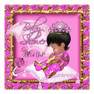 Cute African American Baby Shower Pink Gold 5.25x5.25 Square Paper Invitation Card