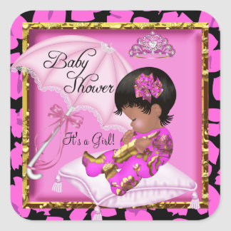 Cute African American Baby Shower Pink Leopard Square Sticker
