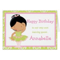 Cute African American Ballerina Birthday Card