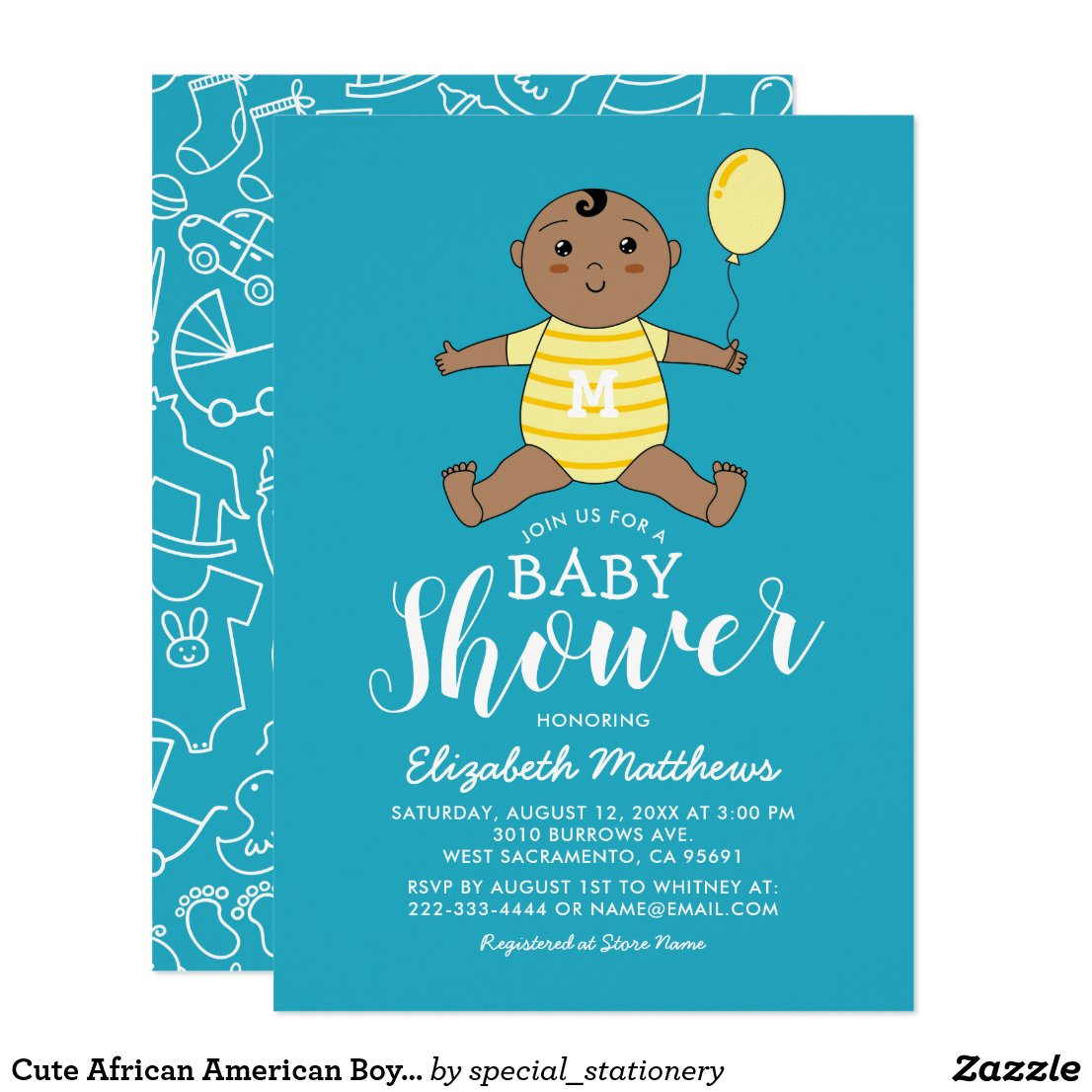 Cute African American Boy Baby Shower Card