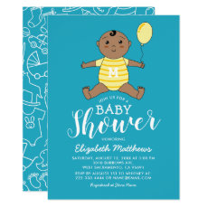 Cute African American Boy Baby Shower Invitation