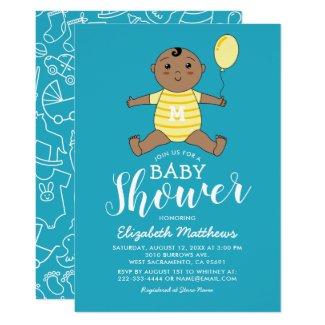 Cute African American Boy Baby Shower Card