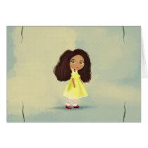 cute African American cartoon girl Card