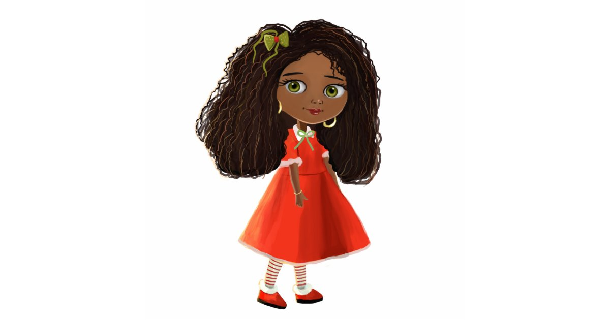 Cute African American Cartoon Girl Photo Sculpture