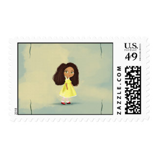 cute African American cartoon girl Postage stamps