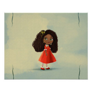 cute African American cartoon girl Poster