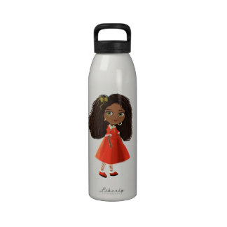 cute African American cartoon girl Water Bottle