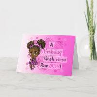 Cute African American Girl  Birthday Card