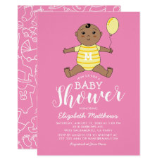 Cute African American Girl Baby Shower Invitation