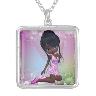 Cute African American Girl Necklace