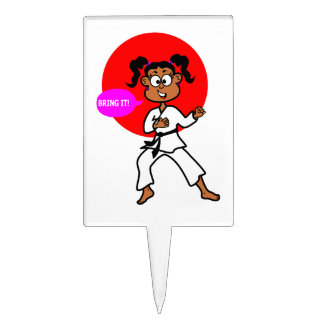 Cute African American Karate Girl Party Cakepick