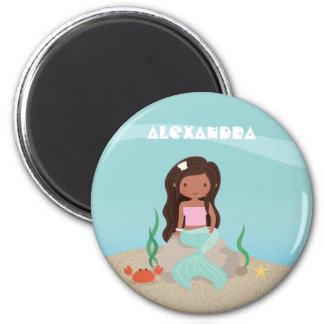 Cute African American Mermaid Girl Fridge Magnet