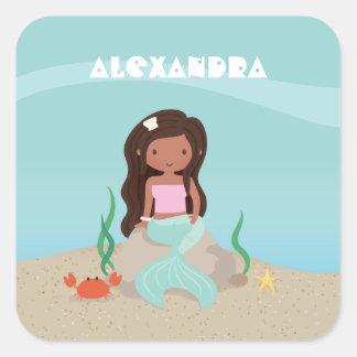 Cute African American Mermaid Girl Sticker