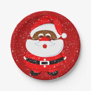 Cute African American Santa Claus Christmas Paper Plate  sc 1 st  Zazzle & African American Santa Plates   Zazzle