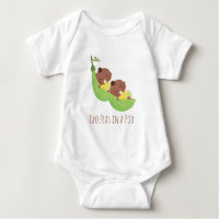 Cute African American Twins in Pod Baby Tee
