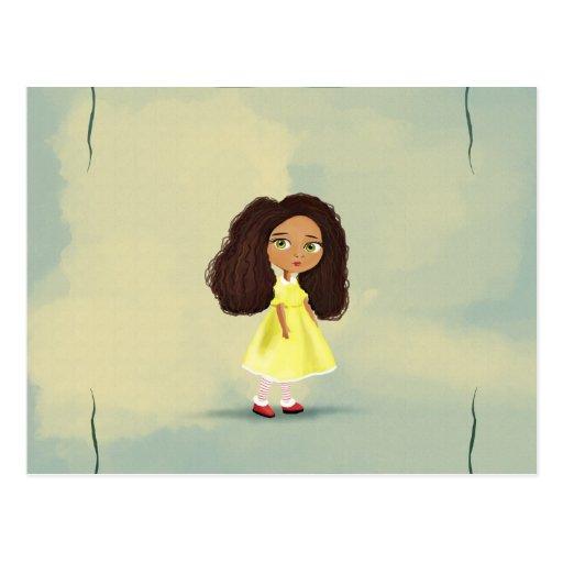 cute African cartoon girl Postcard