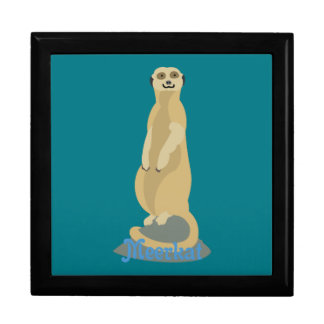 Cute African Meerkat standing upright atop a rock Jewelry Box