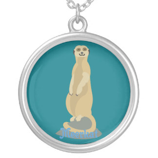 Cute African Meerkat standing upright atop a rock Silver Plated Necklace
