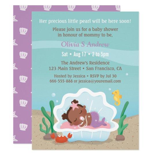 Cute African Mermaid Baby Shower Invitations Zazzlecom