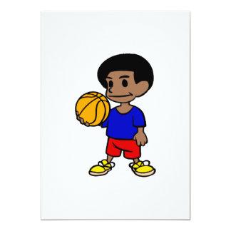 Cute afro boy basketball card