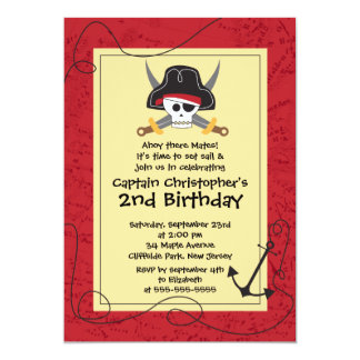 Cute Ahoy Mates Pirate Birthday Party Invitations