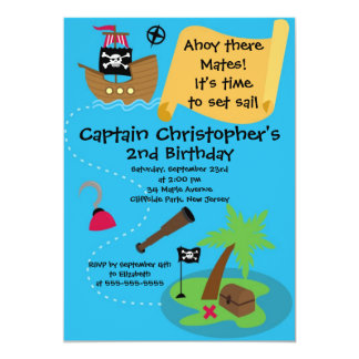 "Cute Ahoy Mates Pirate Birthday Party Invitations 5"" X 7"" Invitation Card"