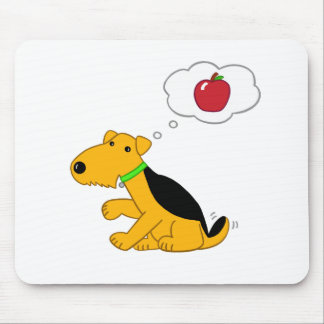 Cute Airedale Terrier Dog Thinks of Apple Mousepad