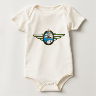 Cute Airforce Pilot and Biplane Baby Bodysuit