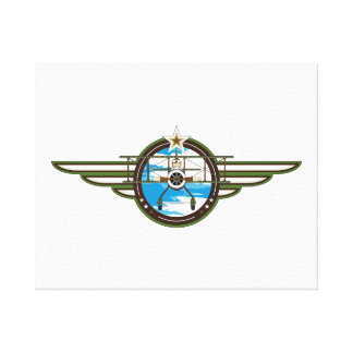 Cute Airforce Pilot and Biplane Canvas Print