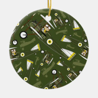 Cute Airforce Pilot and Biplane Double-Sided Ceramic Round Christmas Ornament