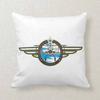 Cute Airforce Pilot and Biplane Throw Pillow