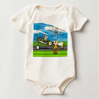 Cute Airforce Pilots and Biplanes Baby Bodysuit