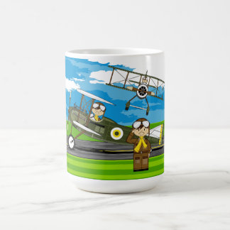 Cute Airforce Pilots and Biplanes Classic White Coffee Mug