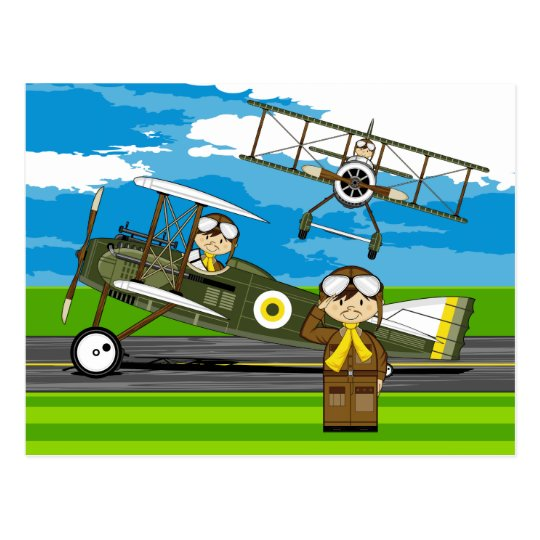 Cute Airforce Pilots and Biplanes Postcard