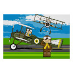 Cute Airforce Pilots and Biplanes Posters