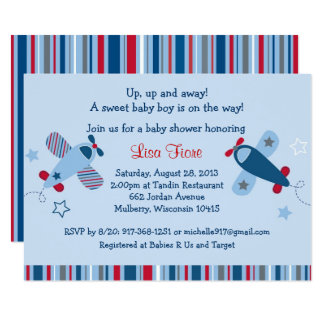 Cute Airplane Baby Shower Card