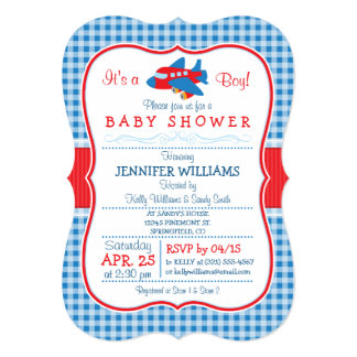 Cute Airplane Baby Shower Invitation