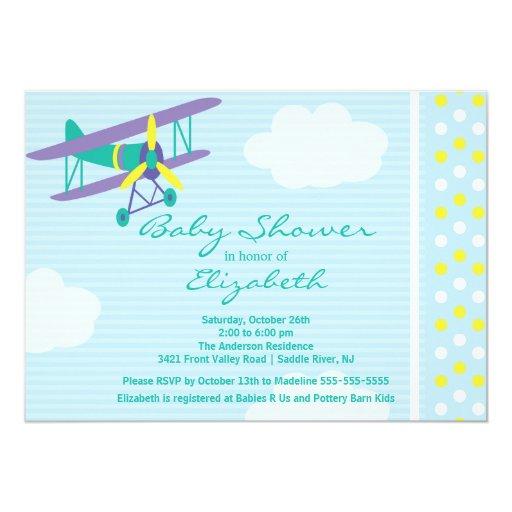 cute airplane boy baby shower invitation zazzle