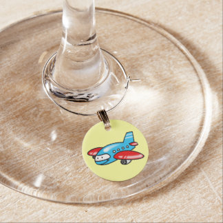 cute airplane cartoon wine charm