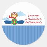 Cute airplane pilot boys birthday party stickers