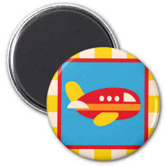 Cute Airplane Transportation Theme Kids Gifts 2 Inch Round Magnet