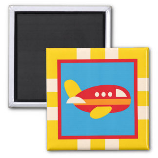 Cute Airplane Transportation Theme Kids Gifts 2 Inch Square Magnet